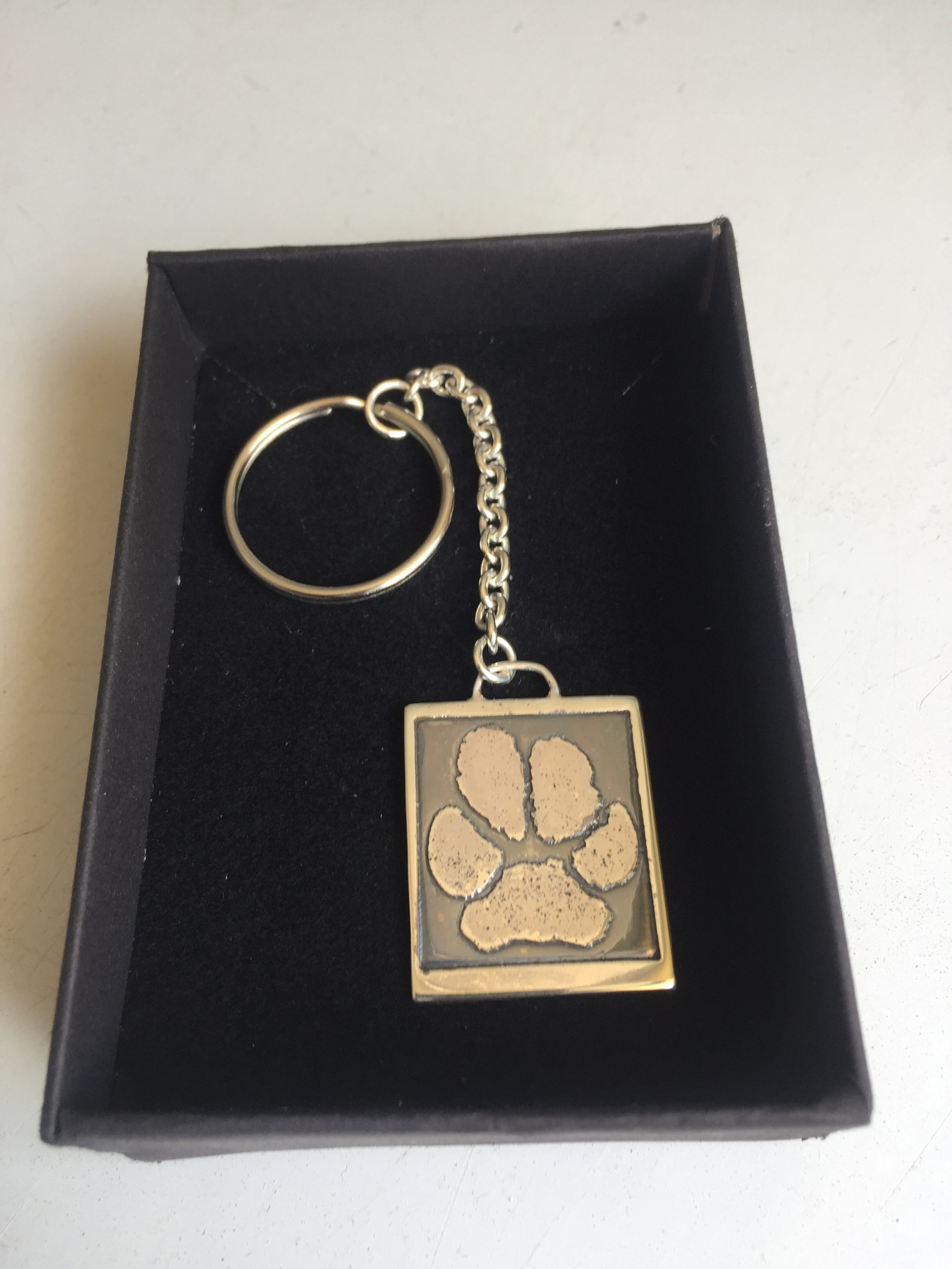 Personalised Paw Print Keyring Sterling Silver