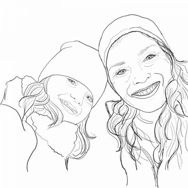 Mother and Daughter Digital Line Portrait