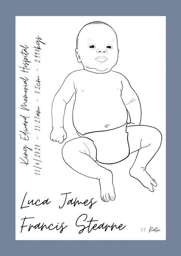 Newborn Baby Portrait to Scale Boy