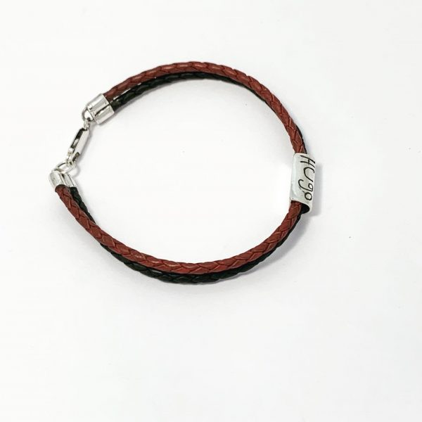 Personalised mens leather bracelet